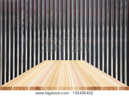 Light brown wooden top on metal sheet stock photo