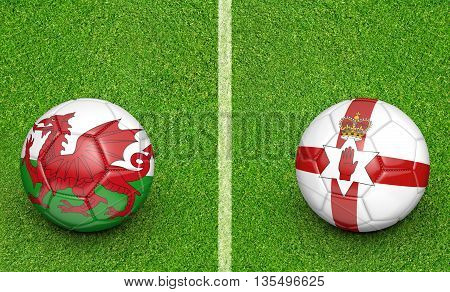 Team balls for Wales vs Northern Ireland football tournament match, 3D rendering