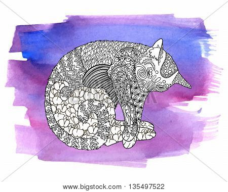 High detail illustration in zen tangle style. Adult coloring page for antistress art therapy. Sleeping cat on the watercolor background. Template for t-shirt, tattoo, poster or cover. Vector.