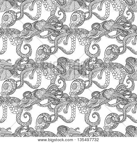 Detailed seamless pattern with mollusks. Anti stress coloring page. Black white hand drawn zen doodle oceanic animal. Endless texture can be used for wallpaper, pattern fills, wrapping paper. Vector.