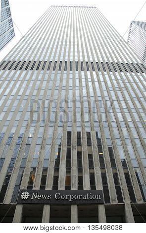 NEW YORK - JUNE 16, 2016: News Corporation headquarters building in New York City. News Corporation is an American diversified multinational mass media corporation