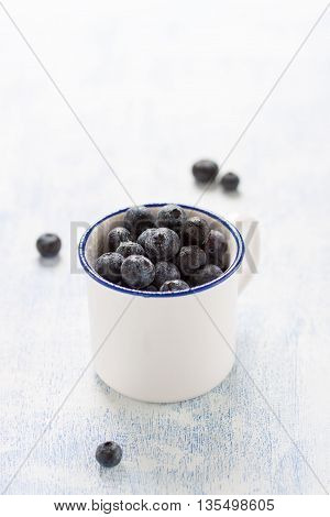 Fresh blueberries in an enamel bowl, closeup with copy space
