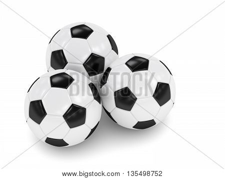 3D Rendered Three Soccer Balls Isolated Over White