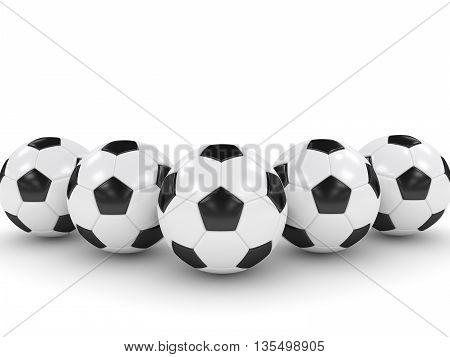 3D Rendered Soccer Balls Isolated Over White