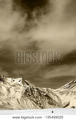 Winter Mountains With Clouds