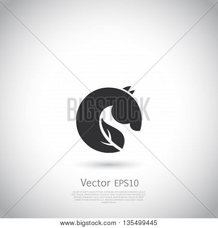 Vector sign or logo green horse. Black silhouette on gray background with place for your text.