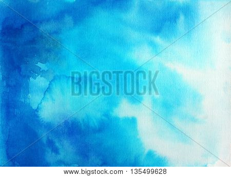 Abstract blue sky watercolor background. Ink illustration. Watercolor ombre. Hand drawn watercolor imitation of sky or water. Backdrop for your design.