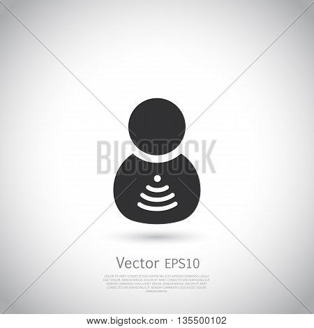 Man with wifi symbol insite body. Vector silhouette on gray background with place for your text.