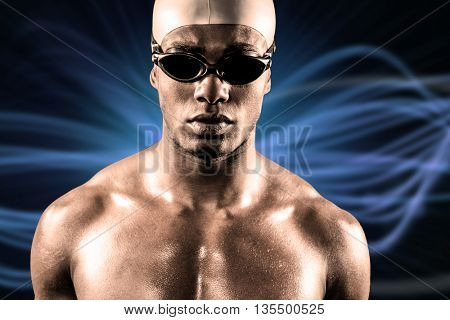 Composite image of swimmer ready to dive against design background