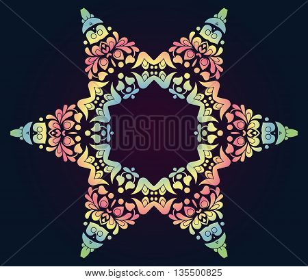 abstract color texture pattern in the form of a five-pointed star on a dark background