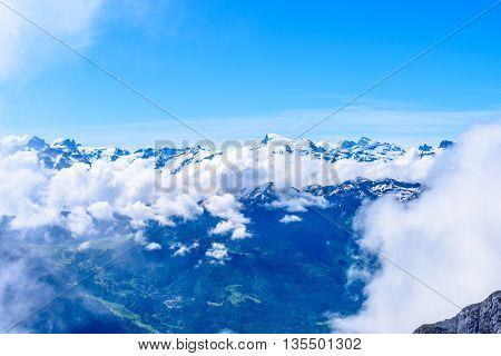 The Swiss Alps from the Pilatus Peak.