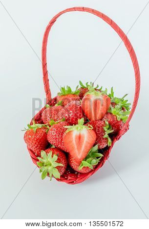 Close up of Strawberries in Basket on white