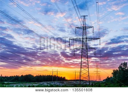 high voltage power lines and pylon electricity