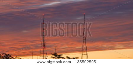 Broadcasting tower at evening light in Brisbane, Queensland.