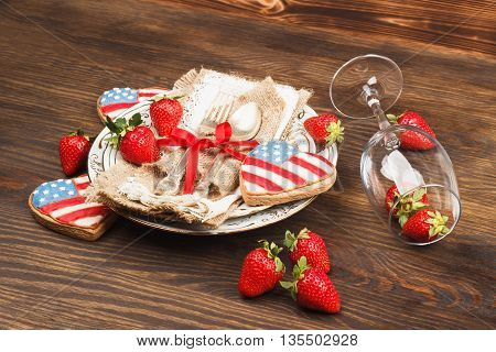 Tableware And Silverware With Strawberry