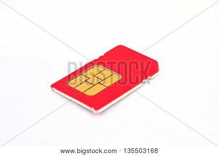 Single sim-card isolated on white background, communication
