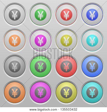 Set of yen sticker plastic sunk spherical buttons.