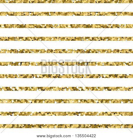 Abstract gold glitter striped background. sparkles and white stripes. EPS