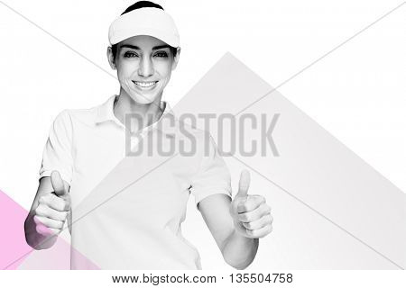 Female athlete showing thumbs up against rosa beige and white