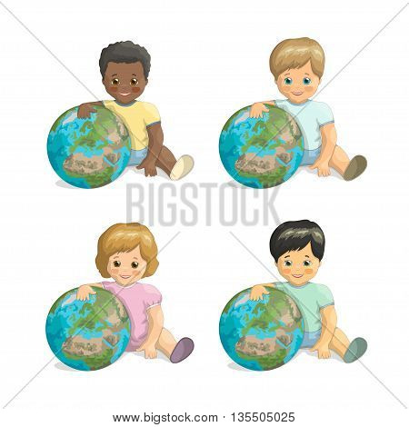 Vector children of different races hugging the planet. Friends Day. Children and Earth: dark-skinned, fair-skinned, red-haired, asian boy and girl with Earth on white background