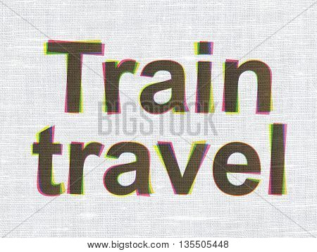 Tourism concept: CMYK Train Travel on linen fabric texture background