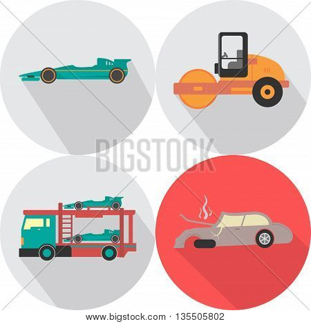 Transportation Icons | Set of great flat icons with style long shadow icon and use for transportation, public transit, car and much more.