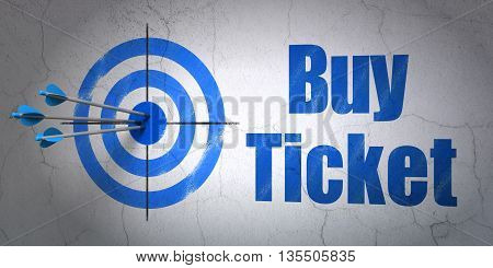 Success vacation concept: arrows hitting the center of target, Blue Buy Ticket on wall background, 3D rendering