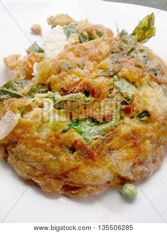 Traditional Thai Style, Omelet On Thai Jasmine Rice On White Dish
