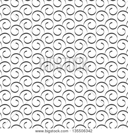 Seamless pattern of curly lines vector illustration.