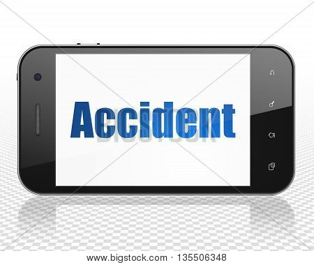 Insurance concept: Smartphone with blue text Accident on display, 3D rendering