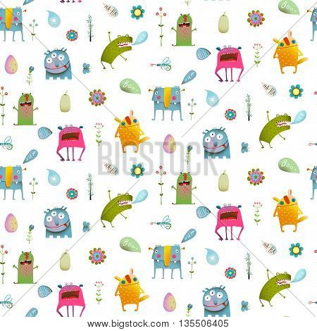 Seamless pattern Fun Cute Cartoon Monsters for Kids Design background. Vivid fabulous incredible creatures design isolated on white.
