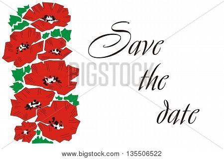 Greeting card with poppies. Greeting card with poppies. Invitation. Wedding Card.