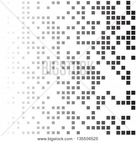 halftone black and white abstract background from randomly placed squares
