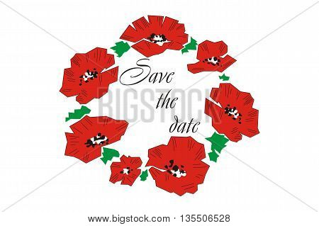 Commemorative card with poppies. Greeting card with poppies. Invitation. Wedding Card.