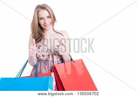 Shopping Woman Holding Bags And Showing Double Like Gesture