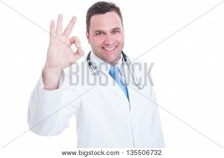 Young Doctor Or Medic Feeling Positive And Showing Okay Gesture