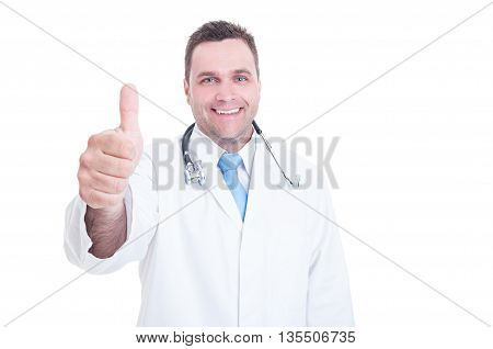 Smiling Medic Or Doctor Showing Thumb Up Or Like Gesture