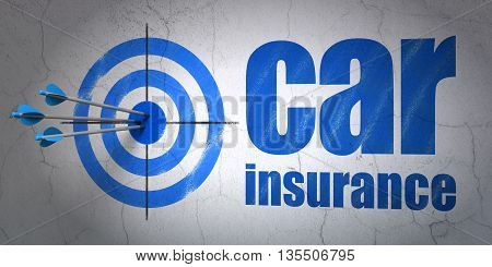 Success Insurance concept: arrows hitting the center of target, Blue Car Insurance on wall background, 3D rendering