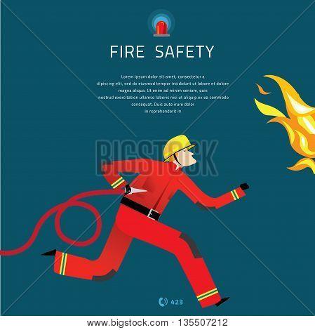Firefighter Vector Illustration. Fire department composition banner.