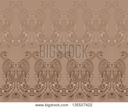 Peacocks in mehndi style pattern with traditional indian ornamental design. Seamless pattern with peacocks for your design web page backgrounds surface textures.