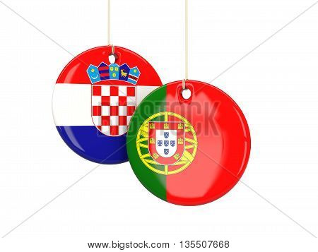 Portugal And Croatia Soccer Teams Round Labels