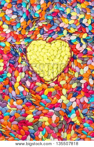 Colorful And Yellow Hearts Background. Sweetheart Candy. Valentines Day