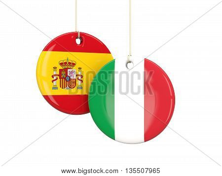 Italy And Spain Soccer Teams Round Labels