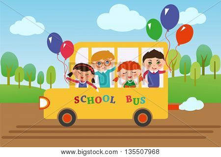 Children of different nationalities are going to school by bus.