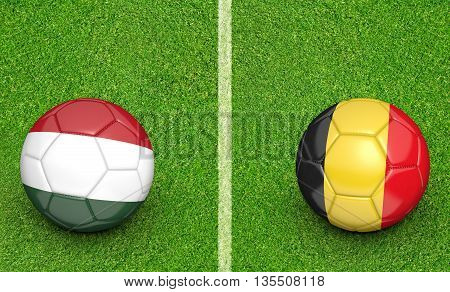 Team balls for Hungary vs Belgium football tournament match, 3D rendering