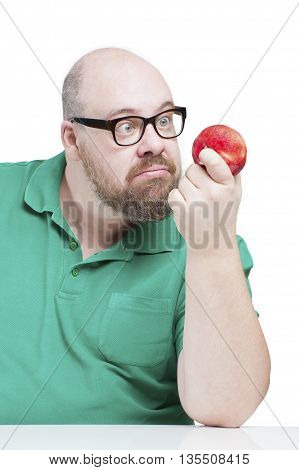 Funny Man Stares At A Red Apple..