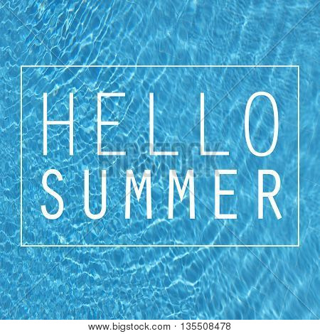 Hello summer note on pool water background