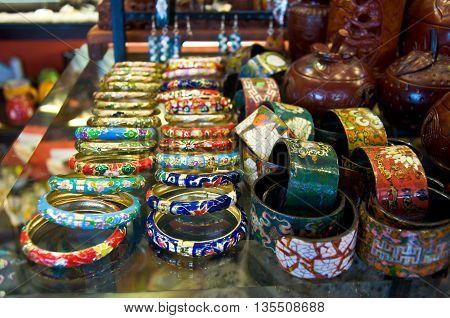 Beautiful bracelets jewelry in a street market