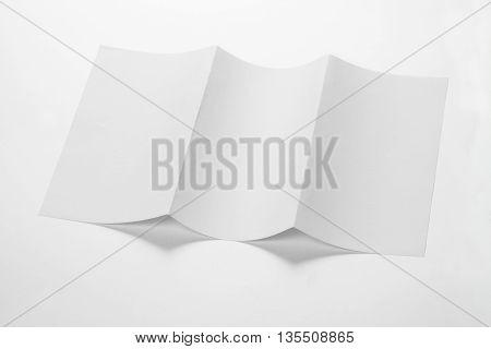 Open White Blank Folded Trifold DL Flyer for Mock up