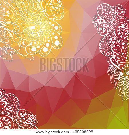 Vector background with geometric shapes and doodle elements. Triangle mosaic background. This file has a clipping mask. Polygonal design.
